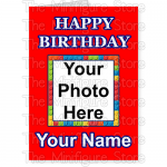 Happy Birthday Photo Name Red BG 1